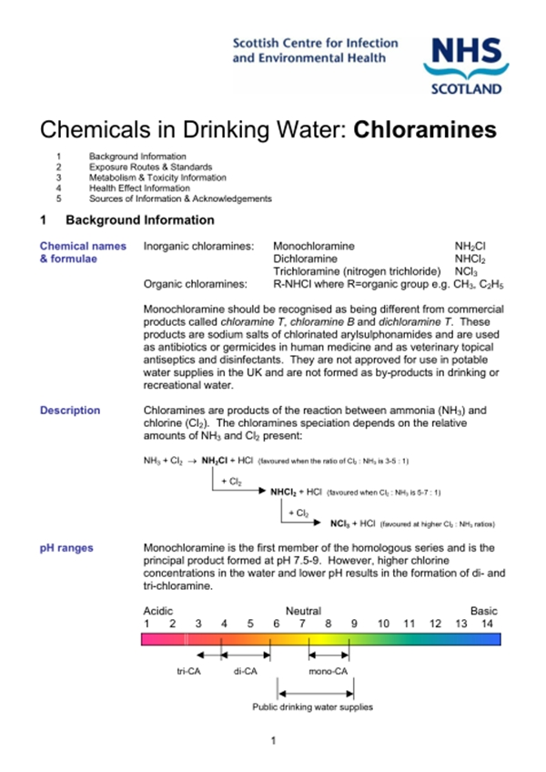 Scotish center for infection chloramines pg1