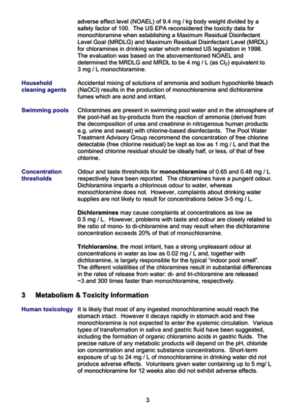 Scotish center for infection chloramines pg3