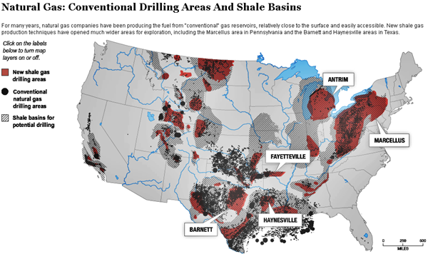 Natural GasConventional Drilling Areas And Shale Basins