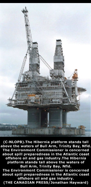 The Hibernia platform stands tall above the waters of Bull Arm, Trinity Bay, Nfld.