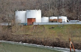 Freedom Industries on Barlow St on the banks of the Elk River is seen on January 10, 2014 in Charleston, West Virginia. West Virginia American Water determined Thursday MCHM chemical had 'overwhelmed' the plant's capacity to keep it out of the water from a spill at Freedom Industries in Charleston. An unknown amount of the hazardous chemical contaminated the public water system for potentially 300,000 people in West Virginia. (Tom Hindman/Getty Images)