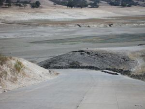 The barren landscape of Lake San Antonio in south Monterey County in January of this drought-stricken year.(Photo credit: The Salinas Californian)