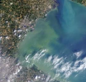 Scientists want to turn harmful algal blooms (green, along coastline) into biofuels and fertilizers. (Photo credit: Jeff Schmaltz, NASA GSFC)
