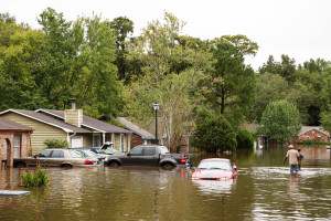 The streets of North Charleston, South Carolina, were flooded Sunday after weekend rainstorms dropped almost 380 millimeters (15 inches) of rain. Thousands of residents across the state were left without drinking water, (Photo credit: Photo courtesy Ryan Johnson / North Charleston via Flickr Creative Commons)